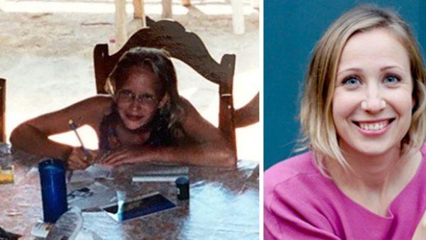 Ella Kaspar als 12-Jährige beim Schreiben und aktuell ein Porträtfoto