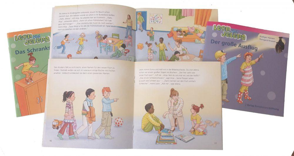 """Seiten aus der Reihe Bildeerbuch-Broschüren-Reihe """"Leon und Jelena"""""""