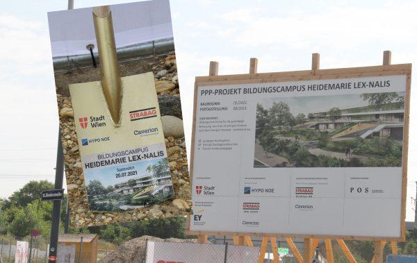 Bildmontage: Baustellentafel wie der Bildungscampus ausschauen wird und Schaufel mti der Aufschrift der Namenspatronin