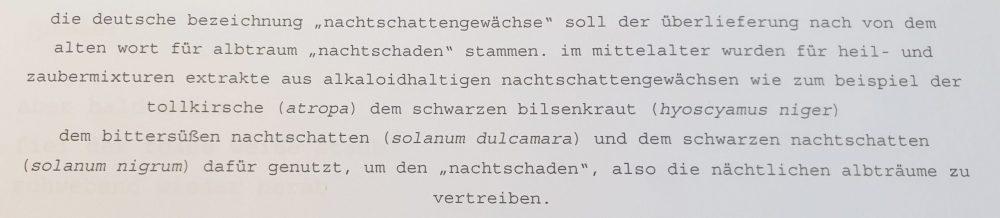 Auszug aus einem der Texte