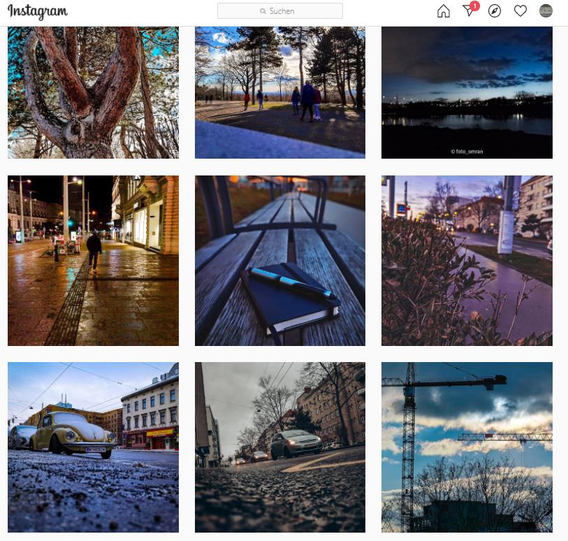 Viele kleine Instagram-Fotos
