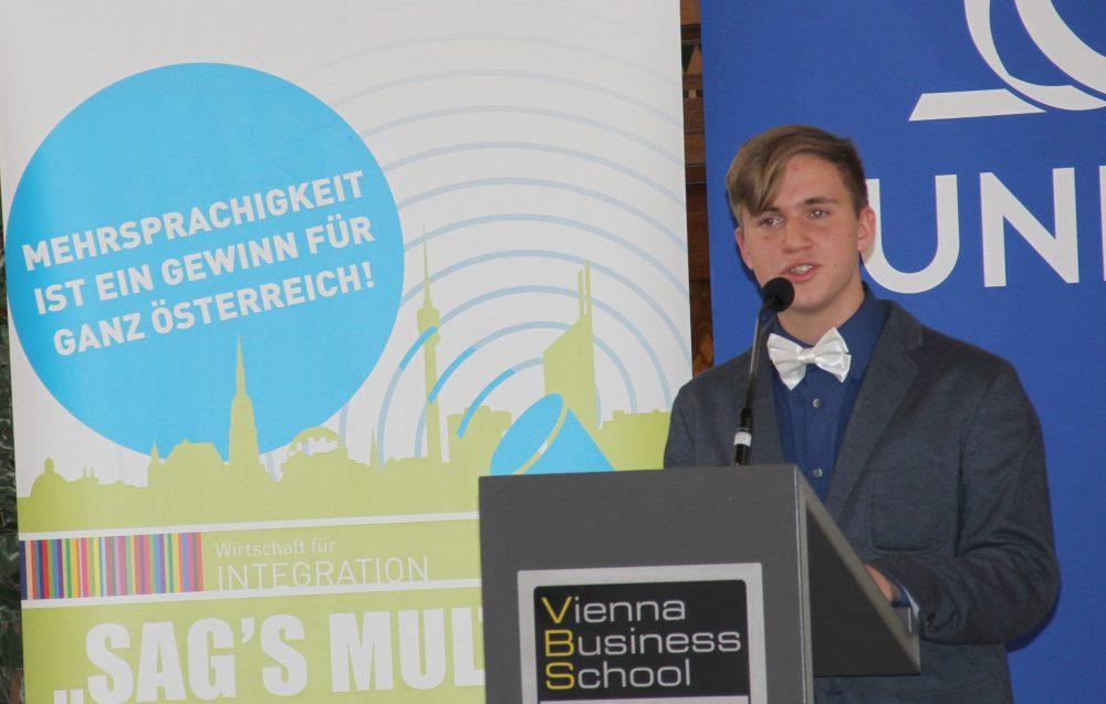 Peter Wolffram bei einer seiner mersprachigen Finalreden - im Februar 2017