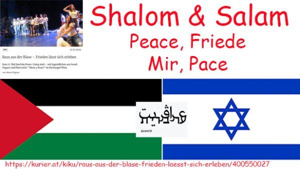 Die Flaggen von Palästina und Israel dazu das Wort Frieden auf Hebräsischund Arabisch, Deuscht, Englich und Russisch sowie ein Ausschnitt aus einem Artikel über das Peac-Camp