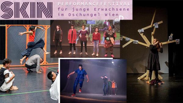 Bildmontage aus vier Fotos von Theaterszenen bzw. Proben und ein Schriftzug Skin-Festival