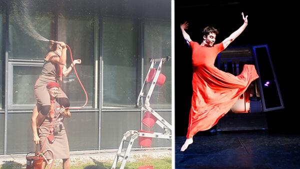 Zwei Feuerwehrfrauen spritzen und ein Mann in rotem Kleid tanzt