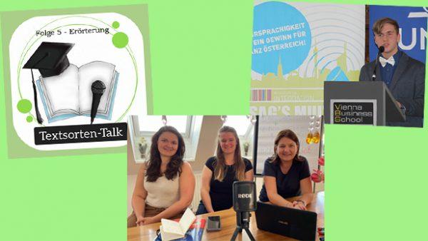 Bildmontage aus drei Fotos: Loge für den Podcast zu Textsorten, drei Lehrerinnen vor Laptop und Mikro sowie ein Foto mit einem jugendlichen Redner