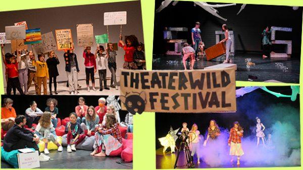 Montage aus vier Fotos vom Theaterwild-Festival + Schild vom Festival