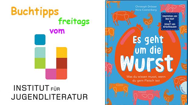 """Buchcover von """"Es eht um die Wurst"""" und Schriftzug des instituts für Jugendliteratur"""
