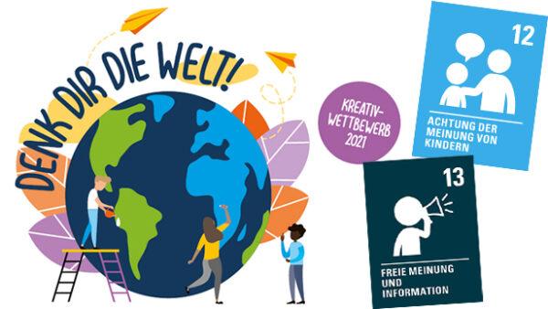 Bunte, stilisierte Weltkugel, Kinder davor malen, tanzen, erklären und dazu kürzestfassungen zweier Artikel der UNO-Kinderechtskonvention
