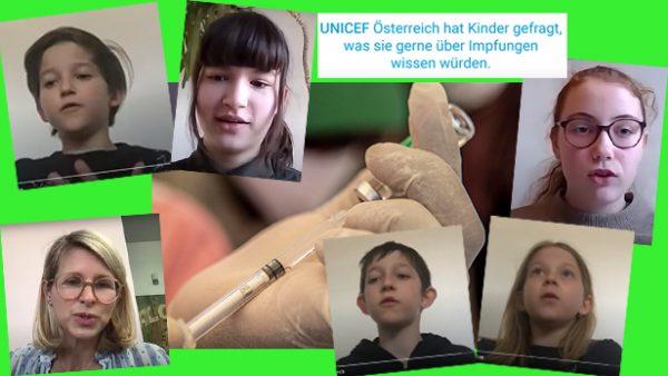 In der Mitte eine Hand mit einer Spritze. Rundherum das Foto einer Ärztin und von Kindern, die ihr Fragen stellten