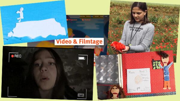 """Screenshots aus den vier Filmen von Kindern/Jugendlichen zum themenschwerpunkt """"Weltansichten"""" bei den 25. video- und Filmtagen in Wien"""