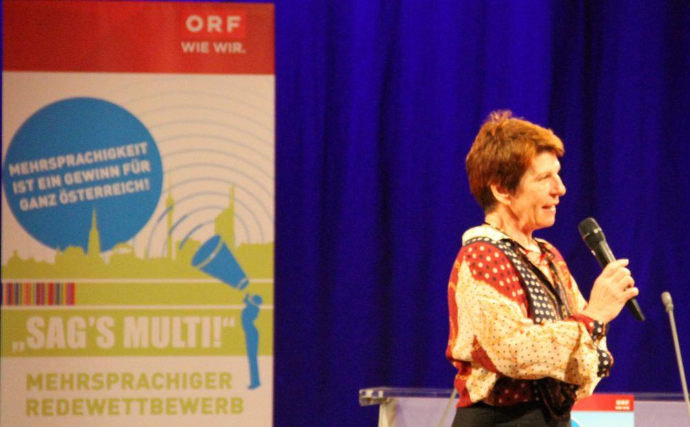 ORF-Wien-Direktorin Brigitte Wolf auf der Bühne im RadioKulturHauses